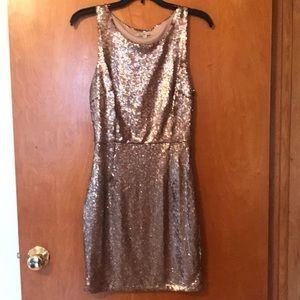 NWOT Charlotte Russe champagne gold sequin dress